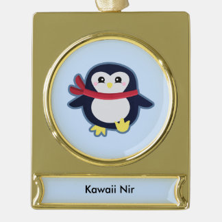 Kawaii penguin gold plated banner ornament