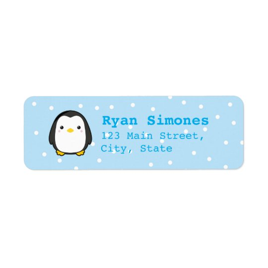 Kawaii Penguin Return Address Label