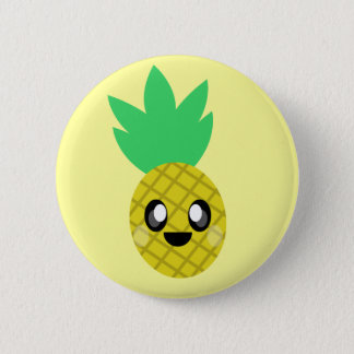 kawaii pineapple fruit face so happy cute 6 cm round badge