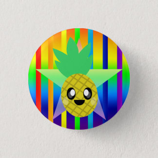 KAWAII PINEAPPLE RAINBOW SUPER FUN TIME BUTTON PIN