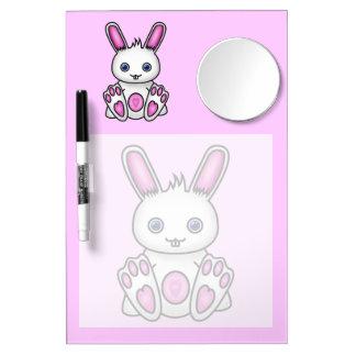 Kawaii Pink Bunny Dry Erase Board With Mirror