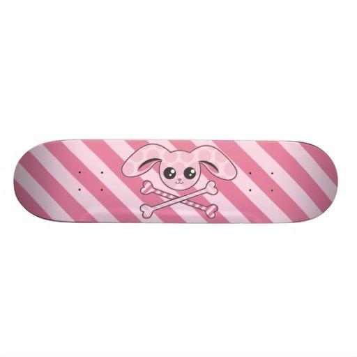 Kawaii Pink Bunny Skull Skate Board Deck