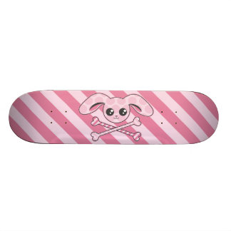 Kawaii Pink Bunny Skull Skateboard Deck