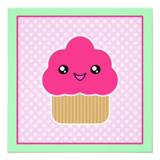 Kawaii Pink Cupcake Birthday Party Invitations