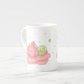 Kawaii Pink Flower Blossom And Green Fairies Bone China Mug