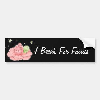 Kawaii Pink Flower Blossom And Green Fairies Bumper Sticker