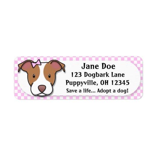 Kawaii Pink Gingham American Pit Bull Terrier Return Address Label