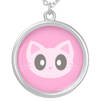 Kawaii Pink kitty Cat Sterling Silver Necklace