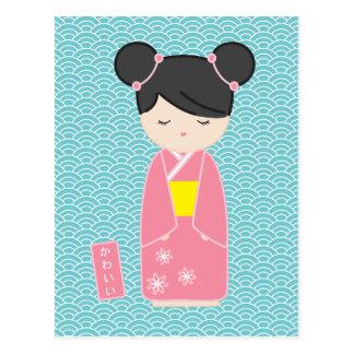 Kawaii Pink Kokeshi Postcard