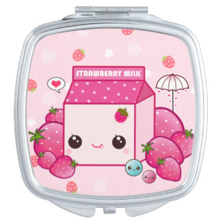 Kawaii pink milk carton with cute strawberries travel mirror