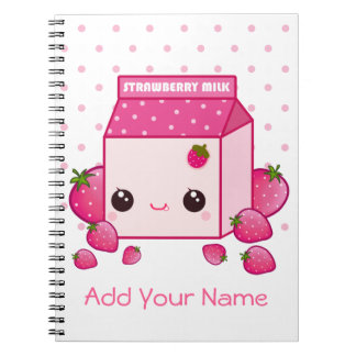 Kawaii pink milk carton with strawberries notebook