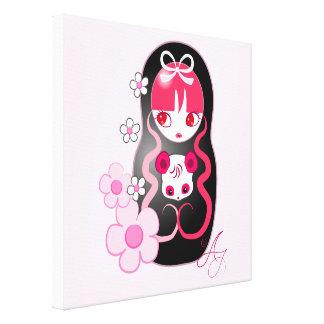 Kawaii Pink Panda Bear Matryoshka Canvas Prints