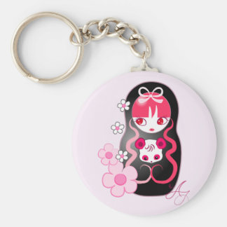 Kawaii Pink Panda Bear Matryoshka Keychain
