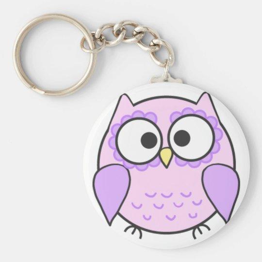 Kawaii Pink & Purple Owl Keyring Basic Round Button Key Ring
