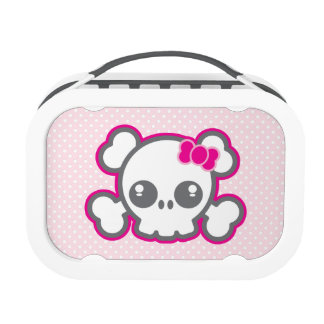 Kawaii Pink Ribbon Skull Lunch Box