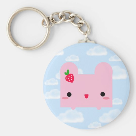 Kawaii Pinku Ripou Basic Round Button Key Ring