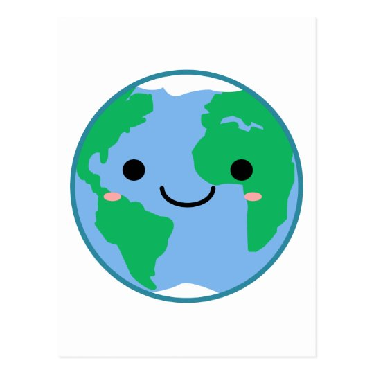 Kawaii Planet Earth Postcard