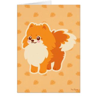 Kawaii Pomeranian Cartoon Dog Greeting Card