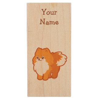 Kawaii Pomeranian Cartoon Dog Wood USB 2.0 Flash Drive