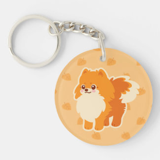 Kawaii Pomeranian Cartoon Dog Single-Sided Round Acrylic Key Ring