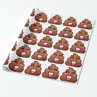 kawaii poop emojis wrapping paper