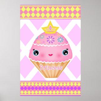 Kawaii Princess Cupcake Girl s Art Poster Print