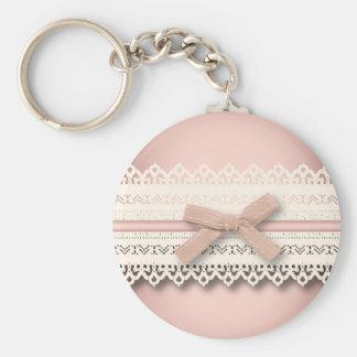 Kawaii princess girly chic white lace pink bow basic round button key ring