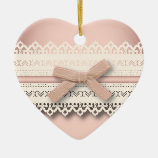 Kawaii princess girly chic white lace pink bow ceramic heart decoration