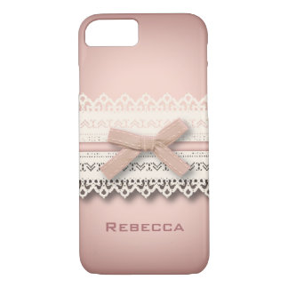 Kawaii princess girly chic white lace pink bow iPhone 7 case