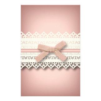 Kawaii princess girly chic white lace pink bow stationery