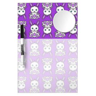 Kawaii Purple Bunny Pattern Dry Erase Board With Mirror
