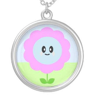 Kawaii Purple Flower Sterling Silver Necklace