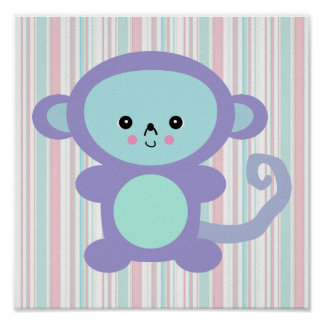 kawaii purple monkey poster