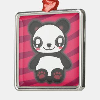 Kawaii purple panda keychain Silver-Colored square decoration