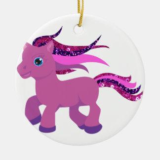 kawaii purple pony round ceramic decoration