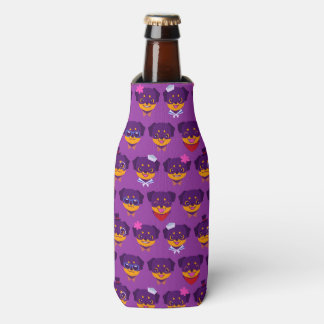 Kawaii Purple Rottweiler Puppy Pattern Bottle Cooler