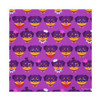 Kawaii Purple Rottweiler Puppy Pattern Canvas Print