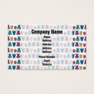 Kawaii Rainbow Alien Monsters Pattern Business Card