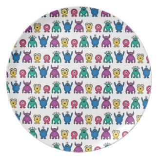 Kawaii Rainbow Alien Monsters Pattern Plate
