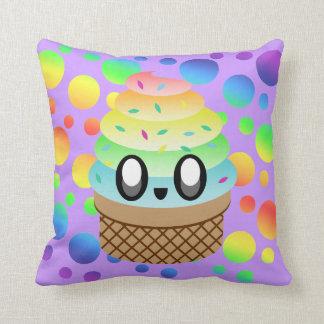 Kawaii Rainbow Ice Cream Cone Cushion