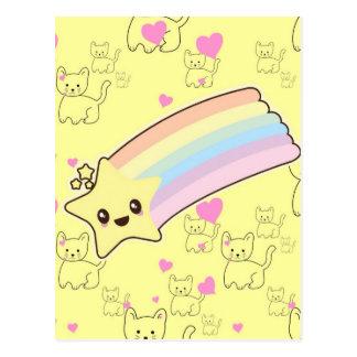 Kawaii rainbow kittens pattern so cute. So Kawaii Postcard