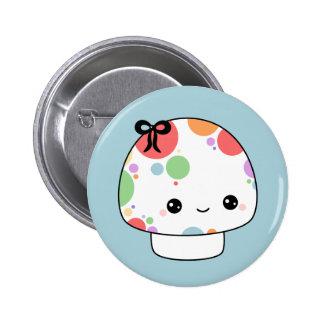Kawaii Rainbow Mushroom Pinback Buttons