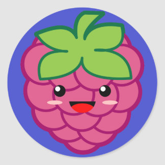 Kawaii Raspberry Round Sticker