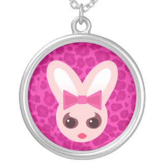 Kawaii Rave Bunny Rabbit Round Pendant Necklace