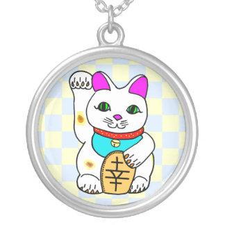 Kawaii Rave Lucky Cat Maneki Neko Round Pendant Necklace