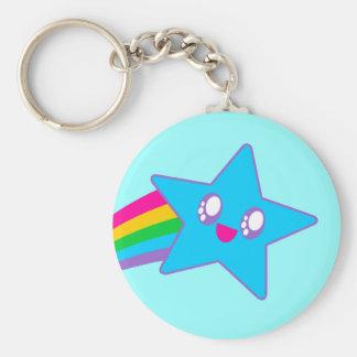 Kawaii Rave Neon Star Rainbow Basic Round Button Key Ring