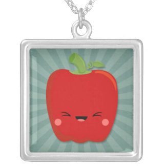 Kawaii Red Pepper on Teal Starburst Personalized Necklace