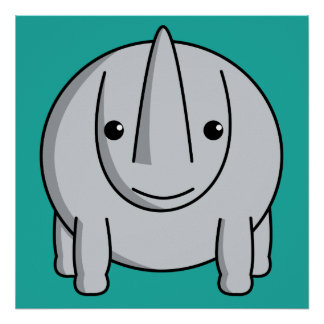 Kawaii Rhino Poster