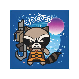 Kawaii Rocket Raccoon In Space Canvas Print