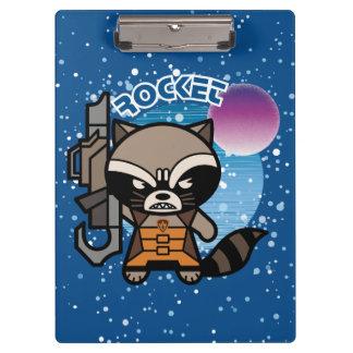Kawaii Rocket Raccoon In Space Clipboard